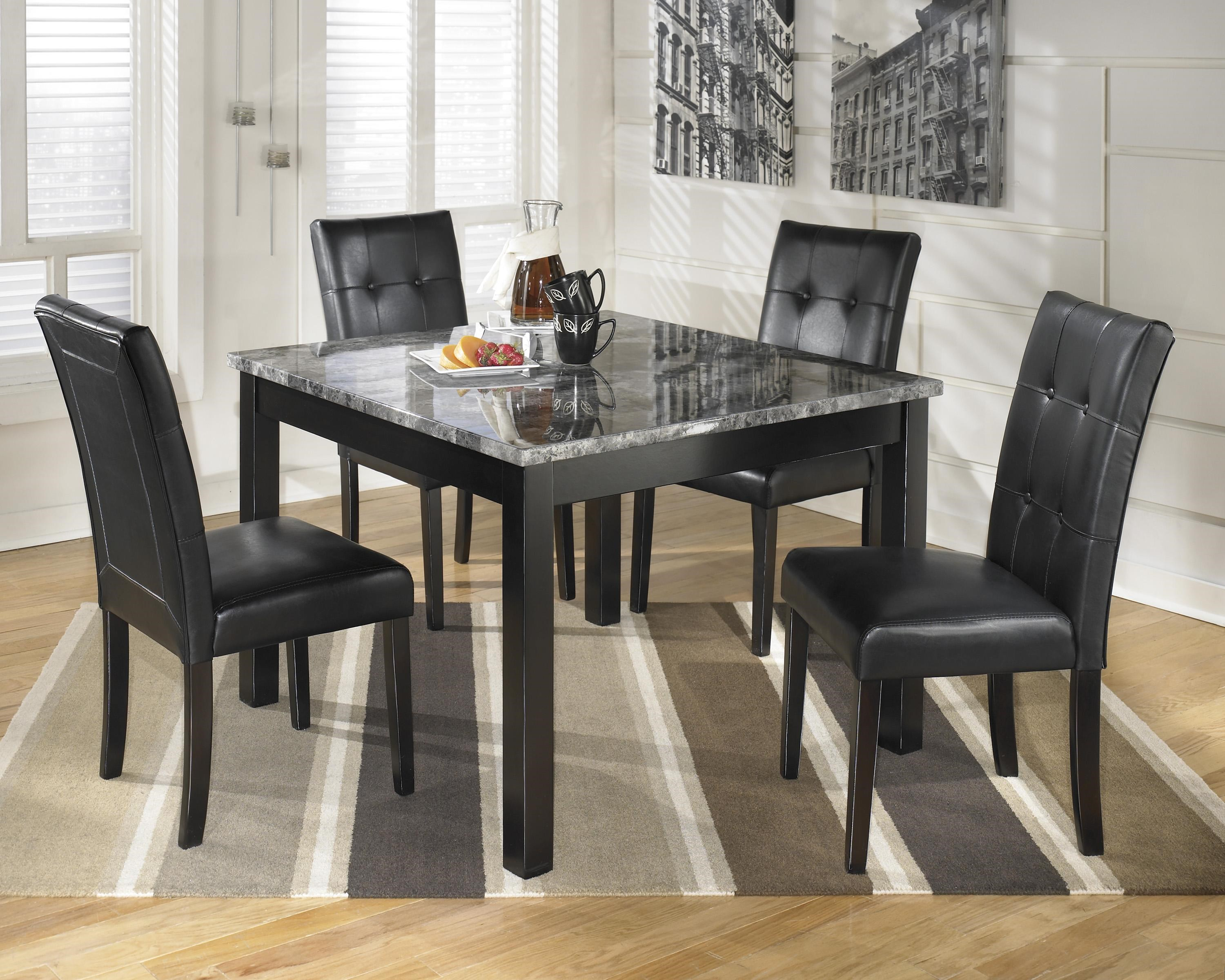 Awesome Signature Design By Ashley Maysville 5 Piece Square Dining Room Table Set  With Faux Marble Part 27
