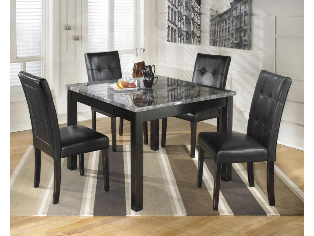 Ashley dining room furniture - Ashley Signature Design Maysville 5 Piece Square Dining Room Table Set With Faux Marble Top Dunk Bright Furniture Dining 5 Piece Set