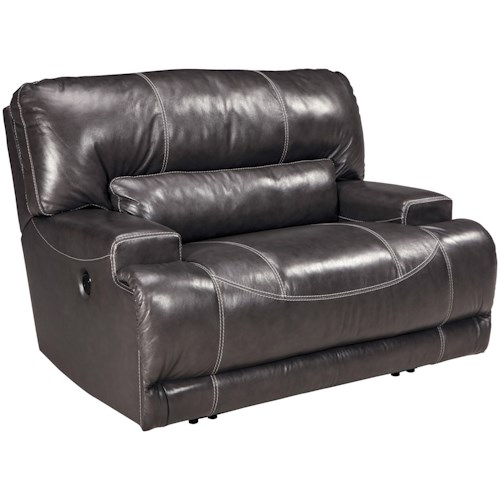 Signature Design by Ashley McCaskill Contemporary Leather Match Wide Seat Recliner