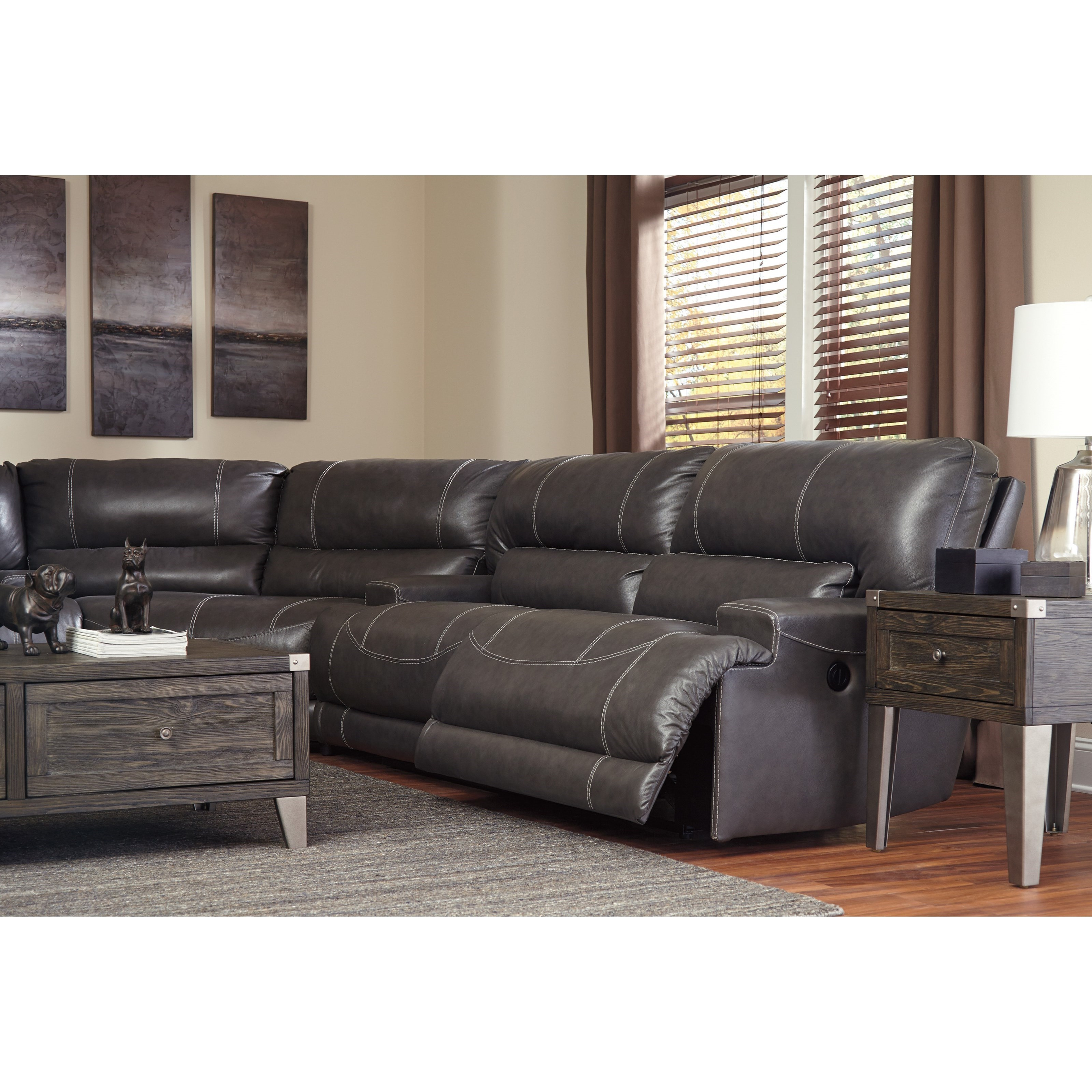 McCaskill Contemporary 3-Piece Leather Match Power Reclining Sectional by Ashley Signature Design  sc 1 st  Dunk u0026 Bright Furniture & Ashley Signature Design McCaskill Contemporary 3-Piece Leather ... islam-shia.org