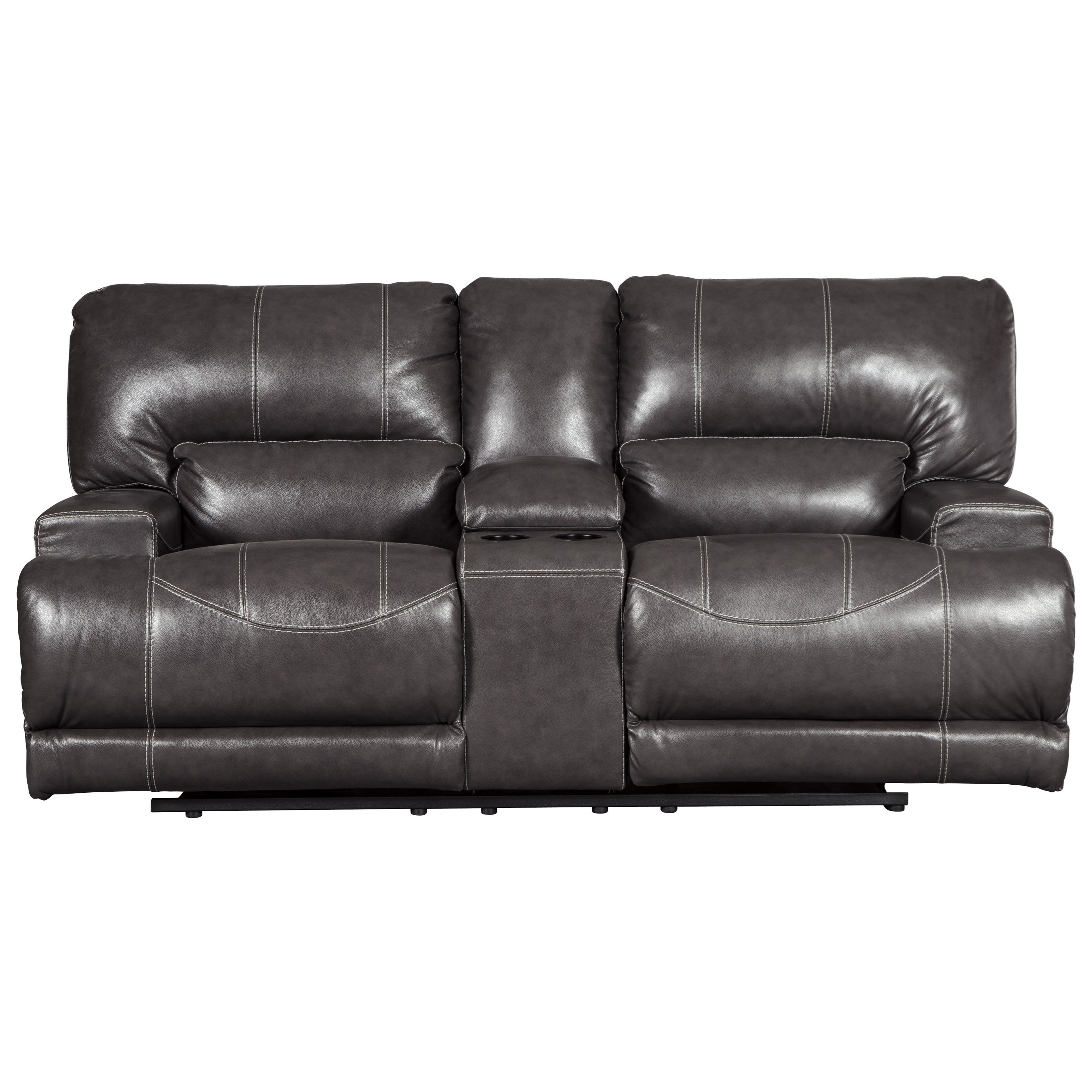 signature design by ashley mccaskill leather match double reclining power loveseat w console furniture and reclining love