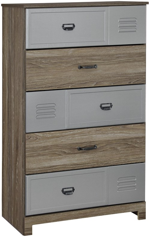 Signature Design by Ashley McKeeth Five Drawer Chest with Locker Style Drawers