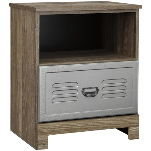 Signature Design by Ashley McKeeth Locker Style One Drawer Night Stand with USB Chargers