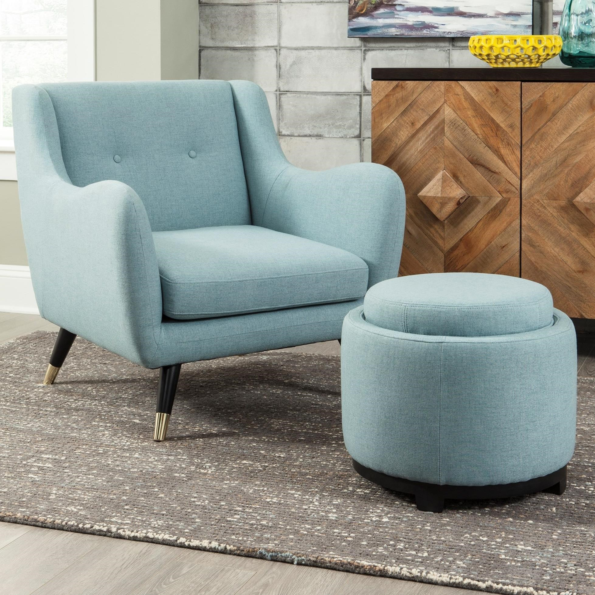 Signature Design By Ashley Menga Mid Century Modern Accent Chair U0026 Ottoman  With Storage/