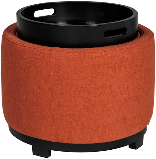 Signature Design by Ashley Menga Round Ottoman With Storage/Reversible Tray Top