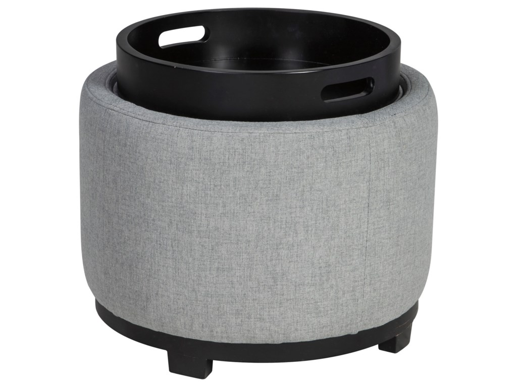 Signature Design By Ashley Menga Round Ottoman With Storage