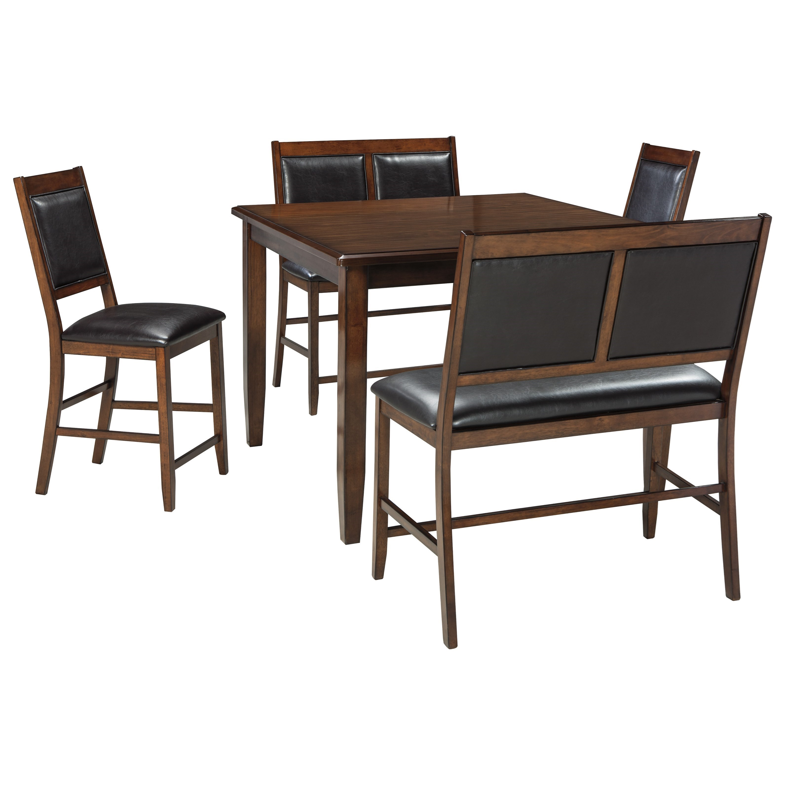 Signature Design By Ashley Meredy 5 Piece Dining Room Counter Table Set  With 2 Benches   John V Schultz Furniture   Table U0026 Chair Set With Bench