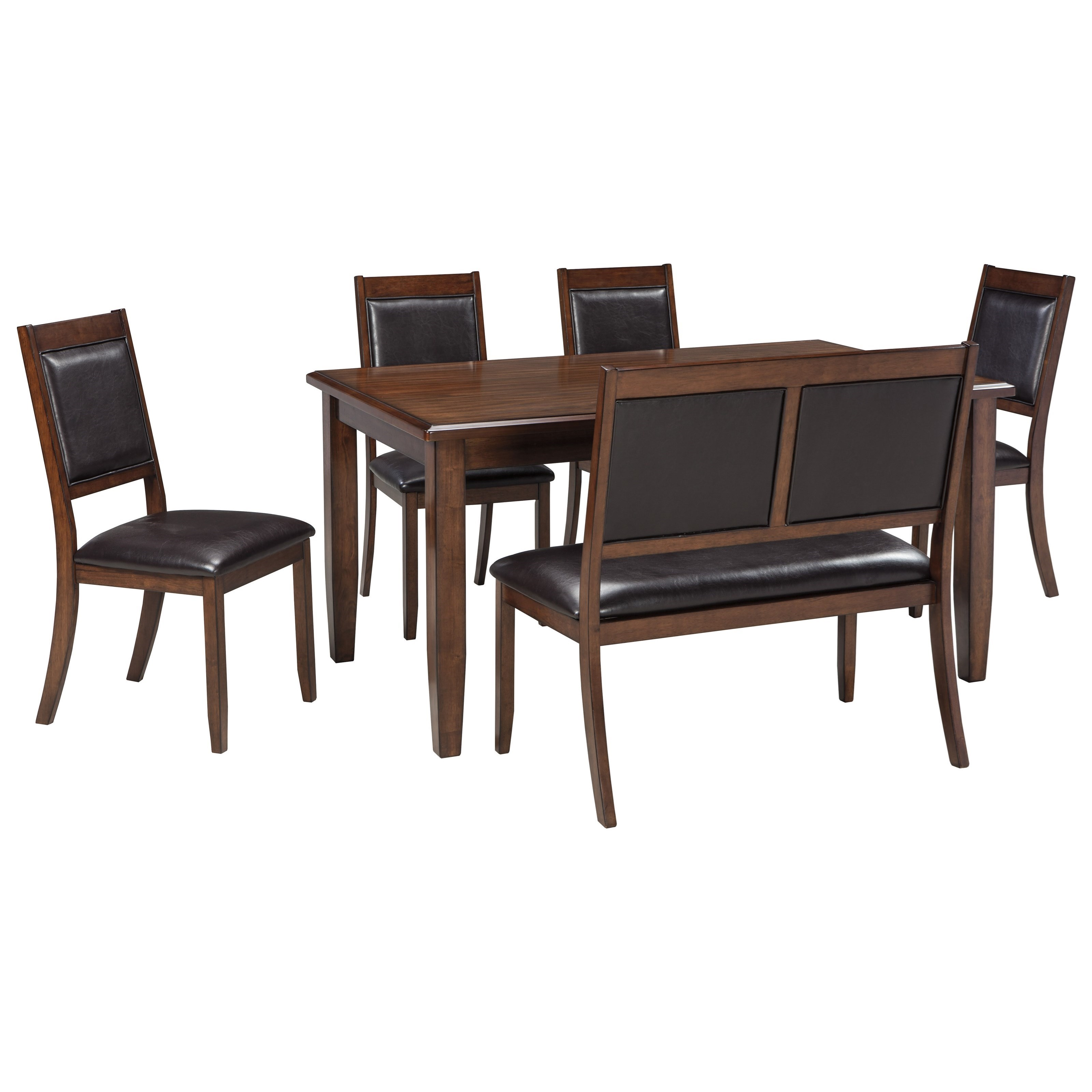 signature design by ashley meredy 6piece dining room table set with bench john v schultz furniture table u0026 chair set with bench