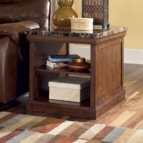 Signature Design by Ashley Merihill Rectangular End Table with Faux Marble Top & 2 Open Shelves