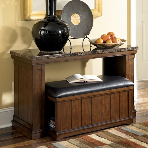 Signature Design by Ashley Merihill Faux Marble Sofa Table w/ Nesting Faux Leather Bench/Ottoman