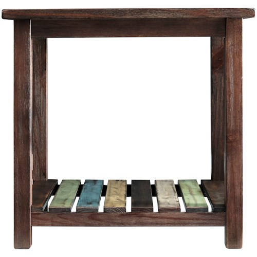 Signature Design by Ashley Mestler Rectangular End Table with Colorful Plank Shelf