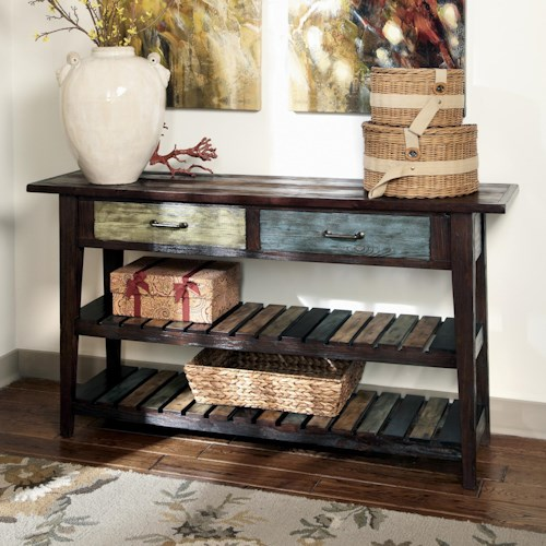 Signature Design by Ashley Mestler Sofa Table with Colorful Drawers & Plank Shelves