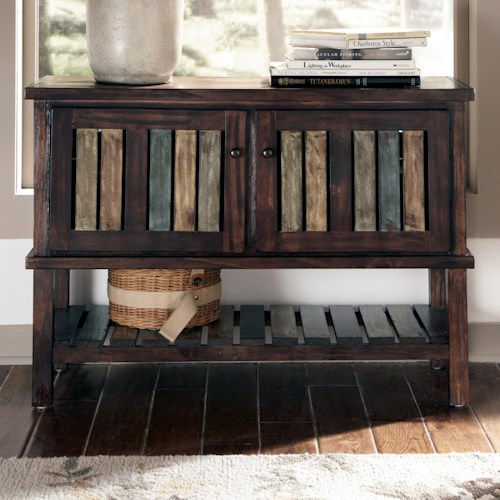 Signature Design by Ashley Mestler Console with Colorful Plank Doors