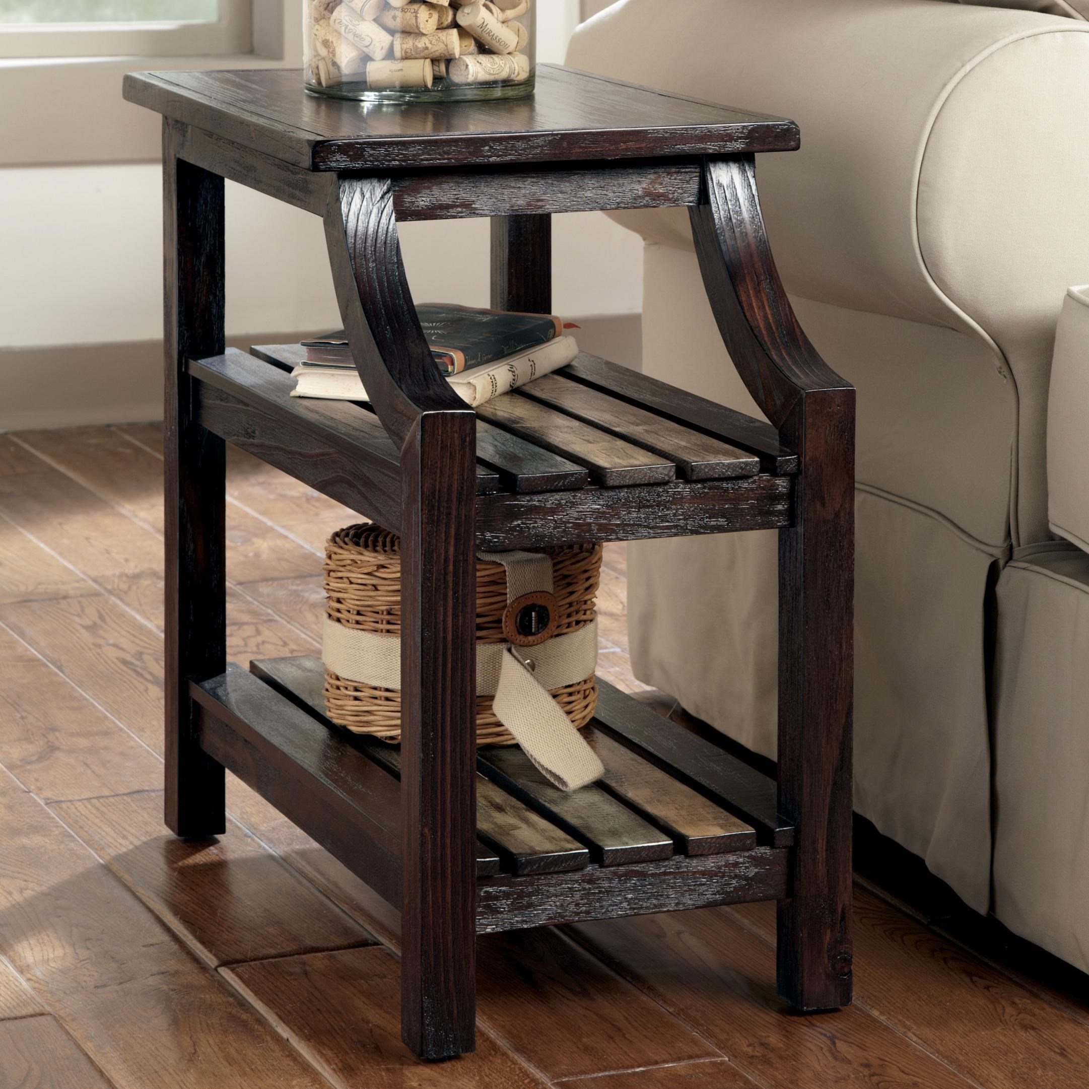 Gentil Signature Design By Ashley Mestler Chairside End Table With Colorful Plank  Shelves