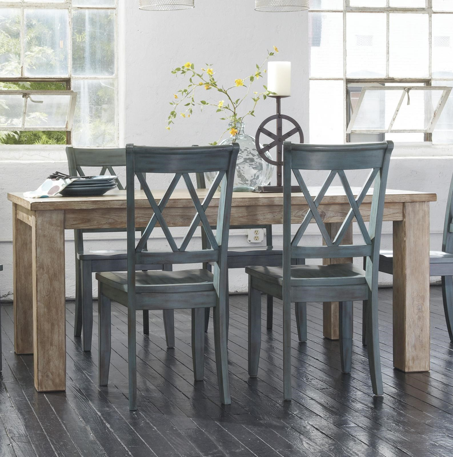 Signature Design By Ashley Mestler Table With 4 Antique Blue Chairs