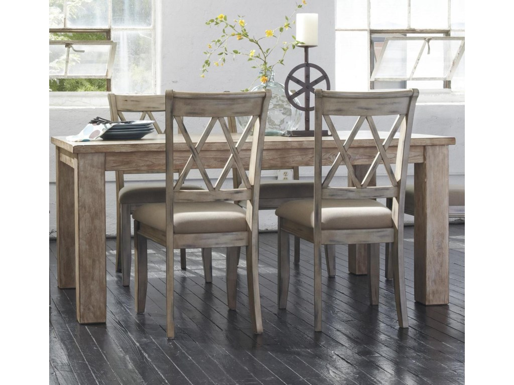 Signature Design by Ashley Mestler Table with 4 Antique White Side Chairs - Signature Design By Ashley Mestler Table With 4 Antique White Side