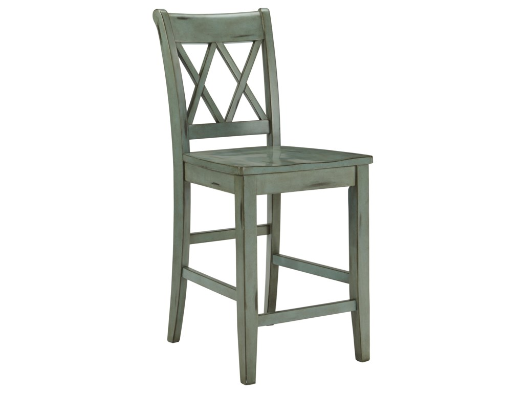 Mestler antique blue green barstool by signature design by ashley