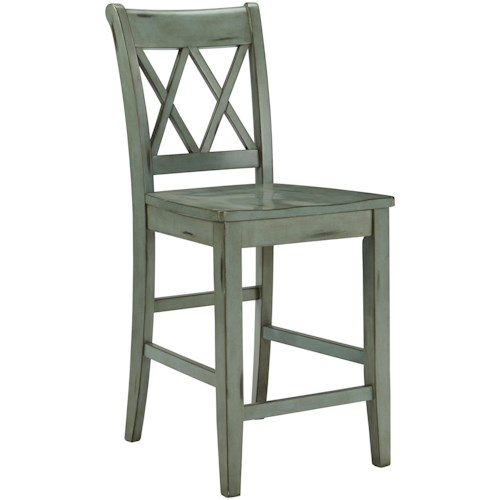 Signature Design by Ashley Mestler Antique Blue/Green Barstool