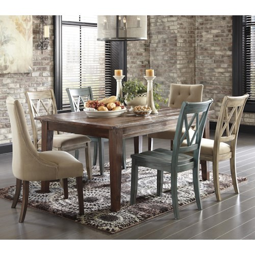 Signature Design by Ashley Mestler 7-Piece Table Set with Mix of Side Chairs