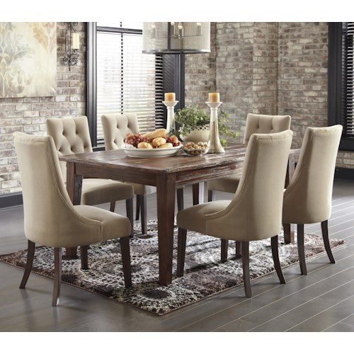 Signature Design by Ashley Mestler 7-Piece Dining Set with Upholstered Side Chairs