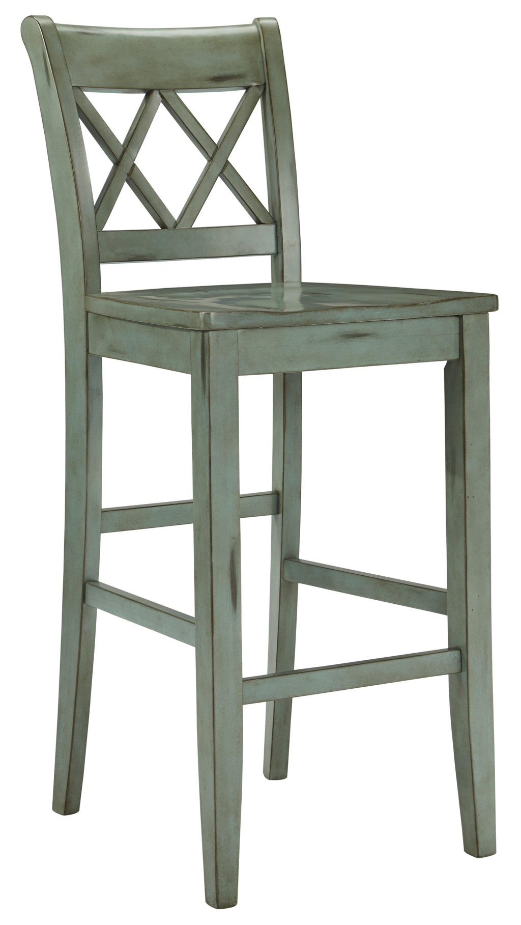 Mestler antique blue green tall barstool by signature design by ashley