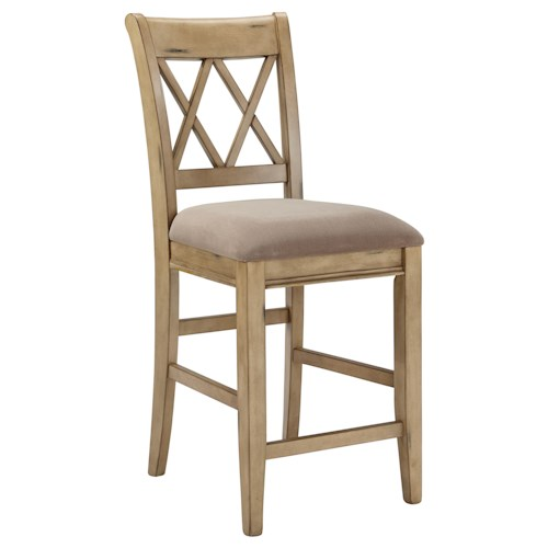 Signature Design by Ashley Mestler Antique White Upholstered Barstool