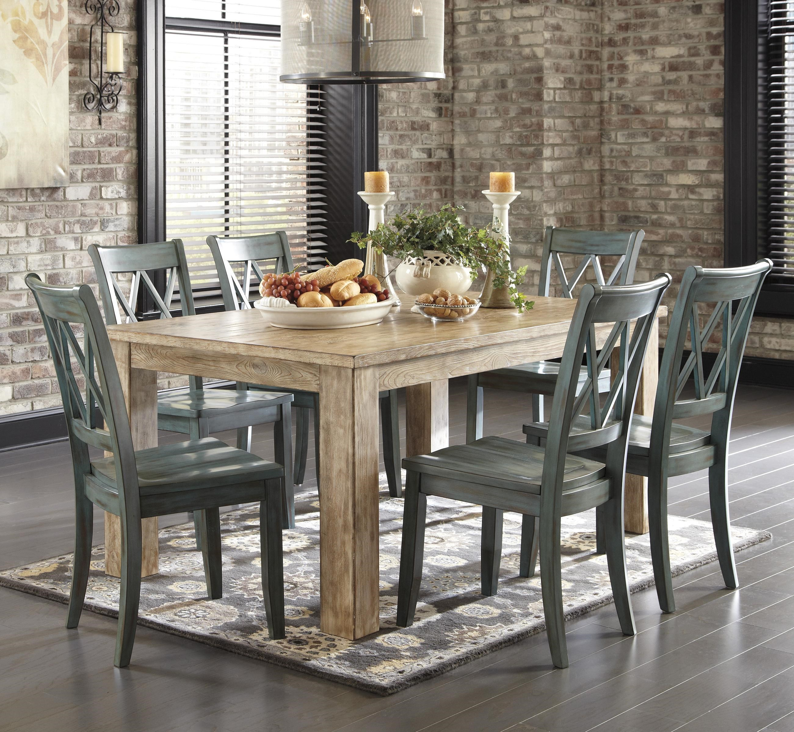Signature Design by Ashley Mestler 7-Piece Table Set with Antique Blue/Green Side & Signature Design by Ashley Mestler 7-Piece Table Set with Antique ...