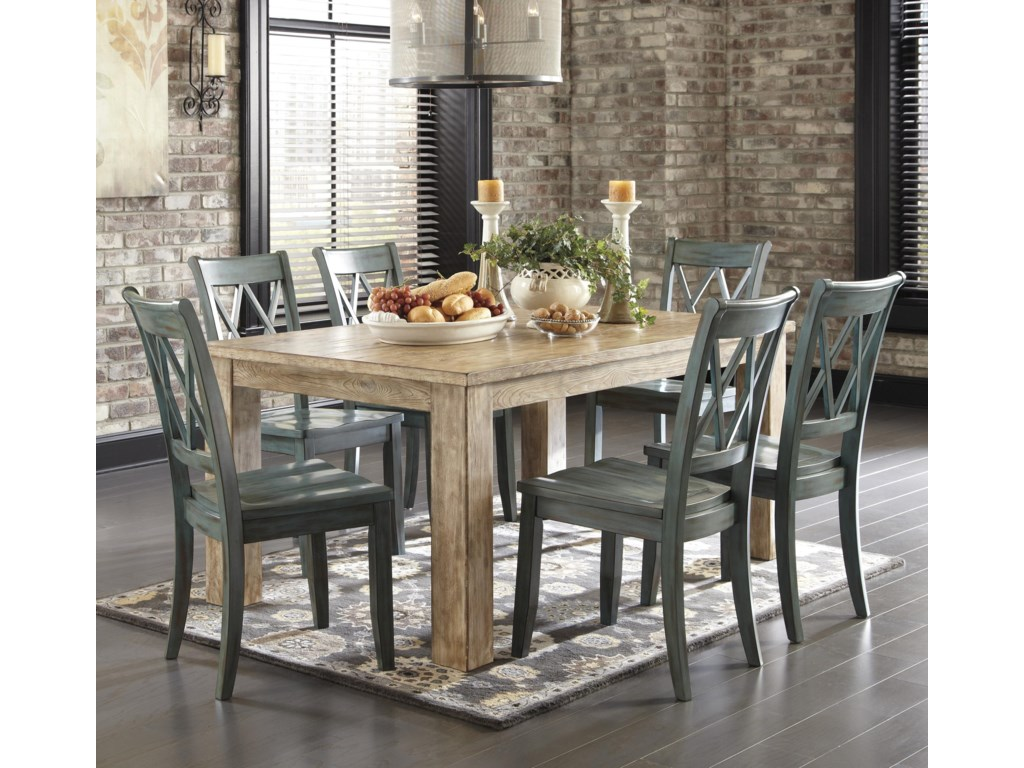 Signature Design by Ashley Mestler 7-Piece Table Set with Antique ...