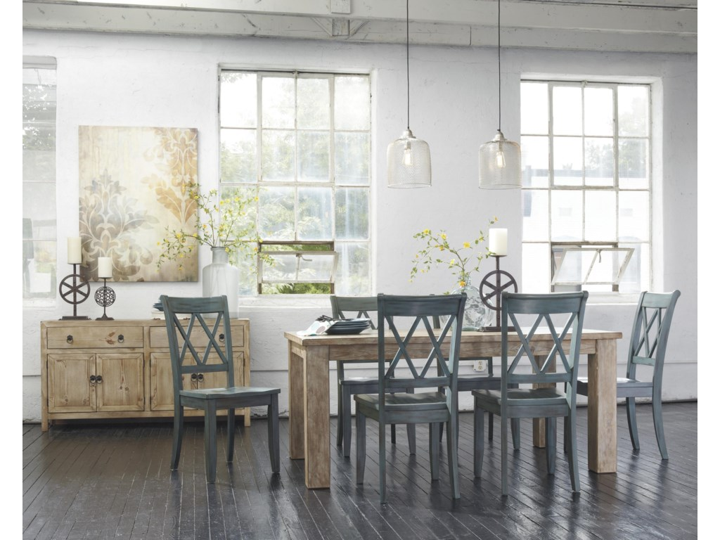 ... Ashley Signature Design Mestler7-Piece Table Set with Antique Blue  Chairs - Ashley Signature Design Mestler 7-Piece Table Set With Antique Blue