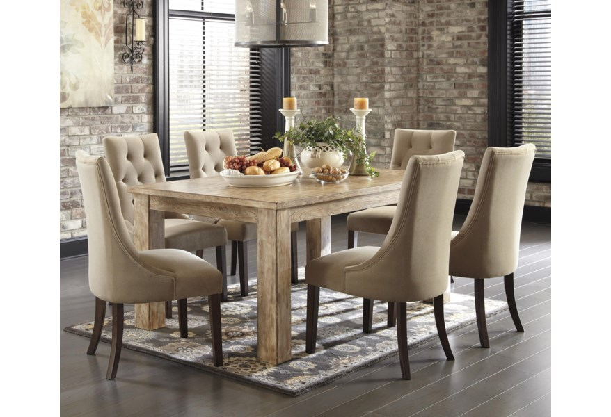 Signature Design Mestler 7 Piece Dining Set With Upholstered Side Chairs Fisher Home Furnishings Dining 7 Or More Piece Sets