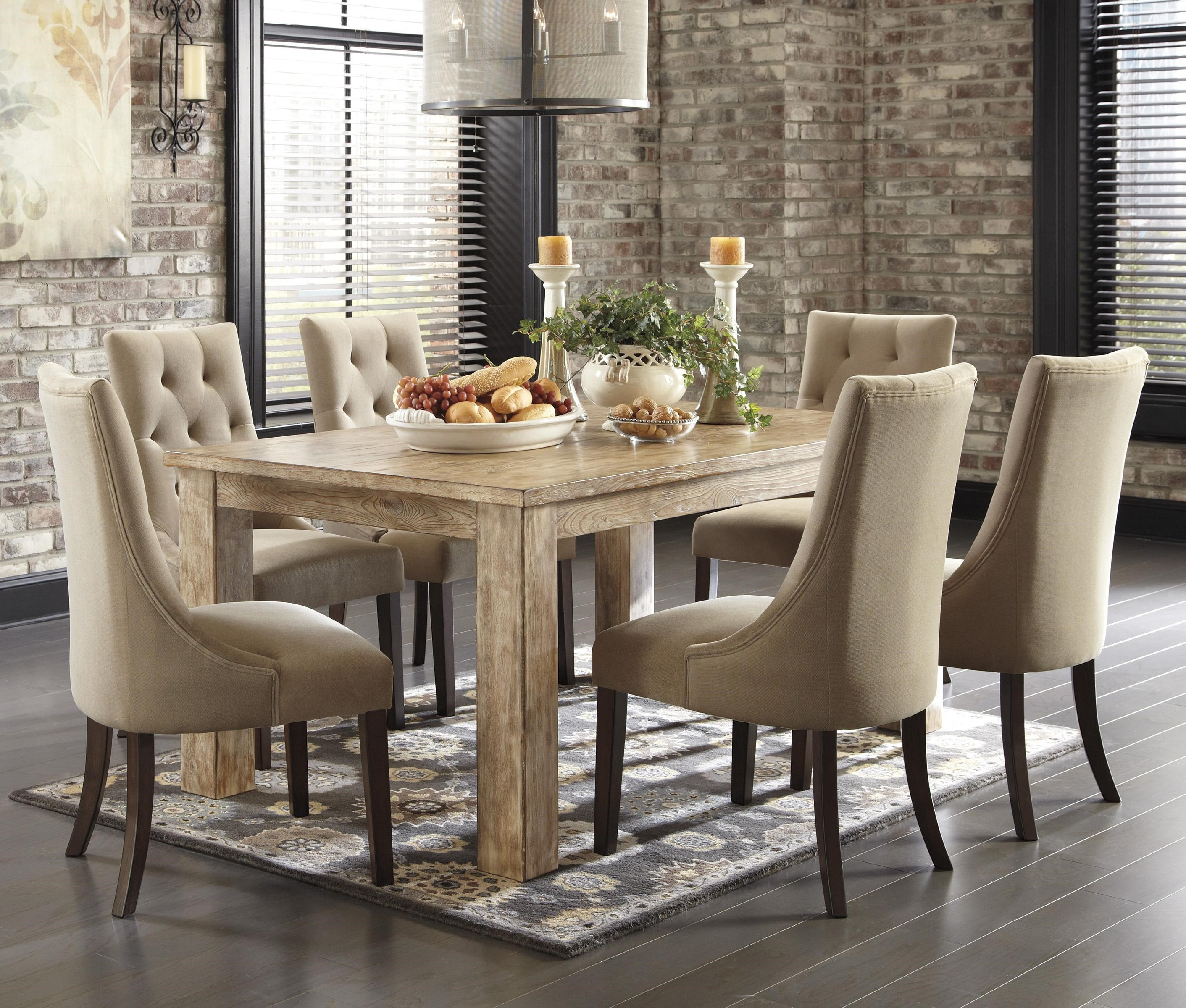 Merveilleux Signature Design By Ashley Mestler7 Piece Dining Set With Upholstered Chairs  ...