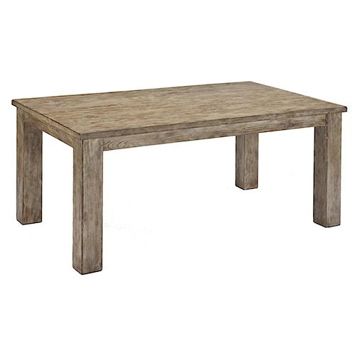 Signature Design by Ashley Mestler Driftwood Finish Rectangular Dining Room  Table with Block Legs - Signature Design By Ashley Mestler Driftwood Finish Rectangular