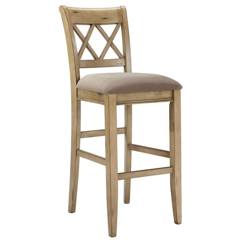 Signature Design by Ashley Mestler Antique White Tall Upholstered Barstool