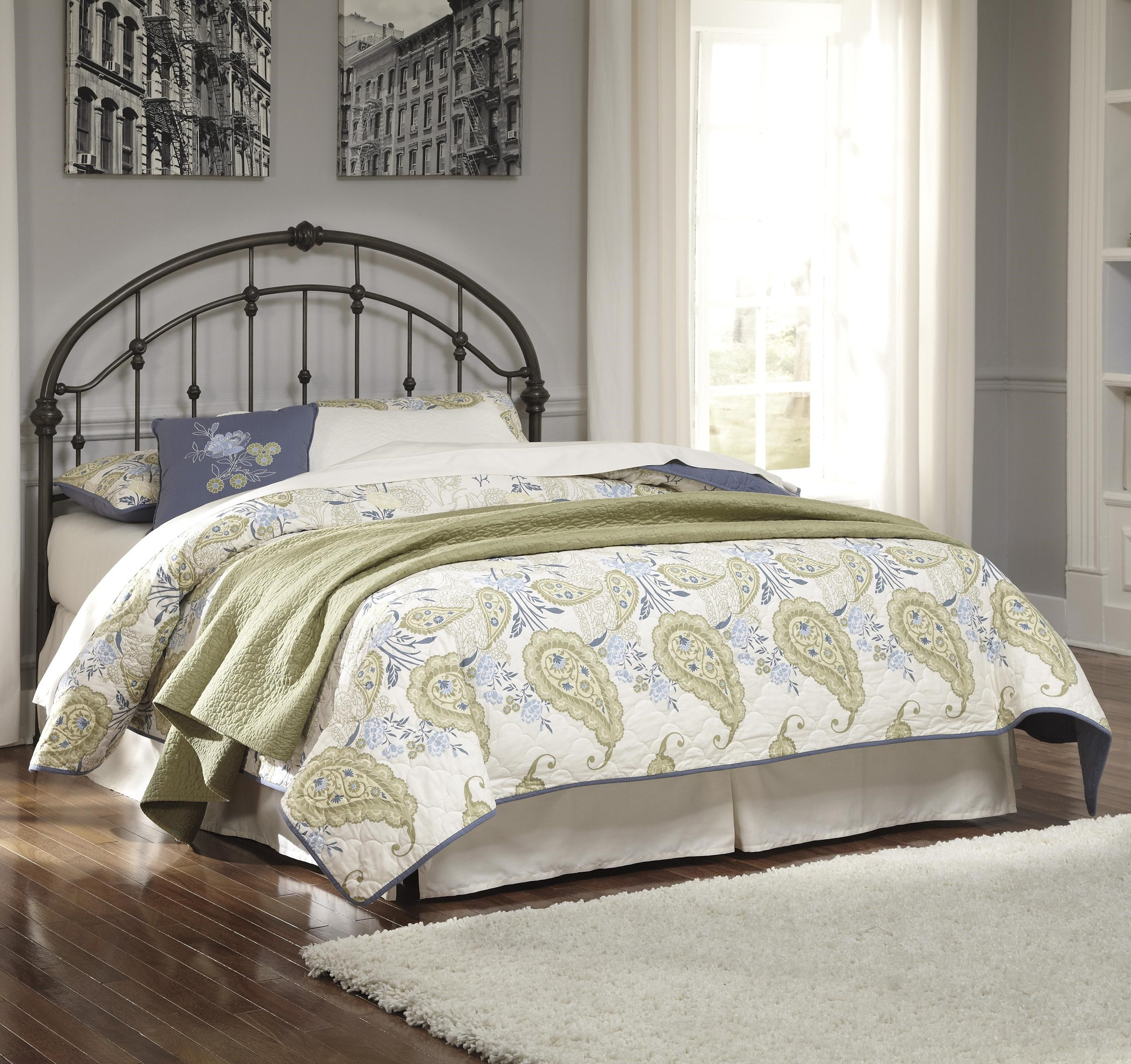 signature design by ashley nashburg queen arched metal headboard in bronze color finish