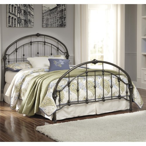 Signature Design by Ashley Nashburg Queen Arched Metal Bed in Bronze Color Finish