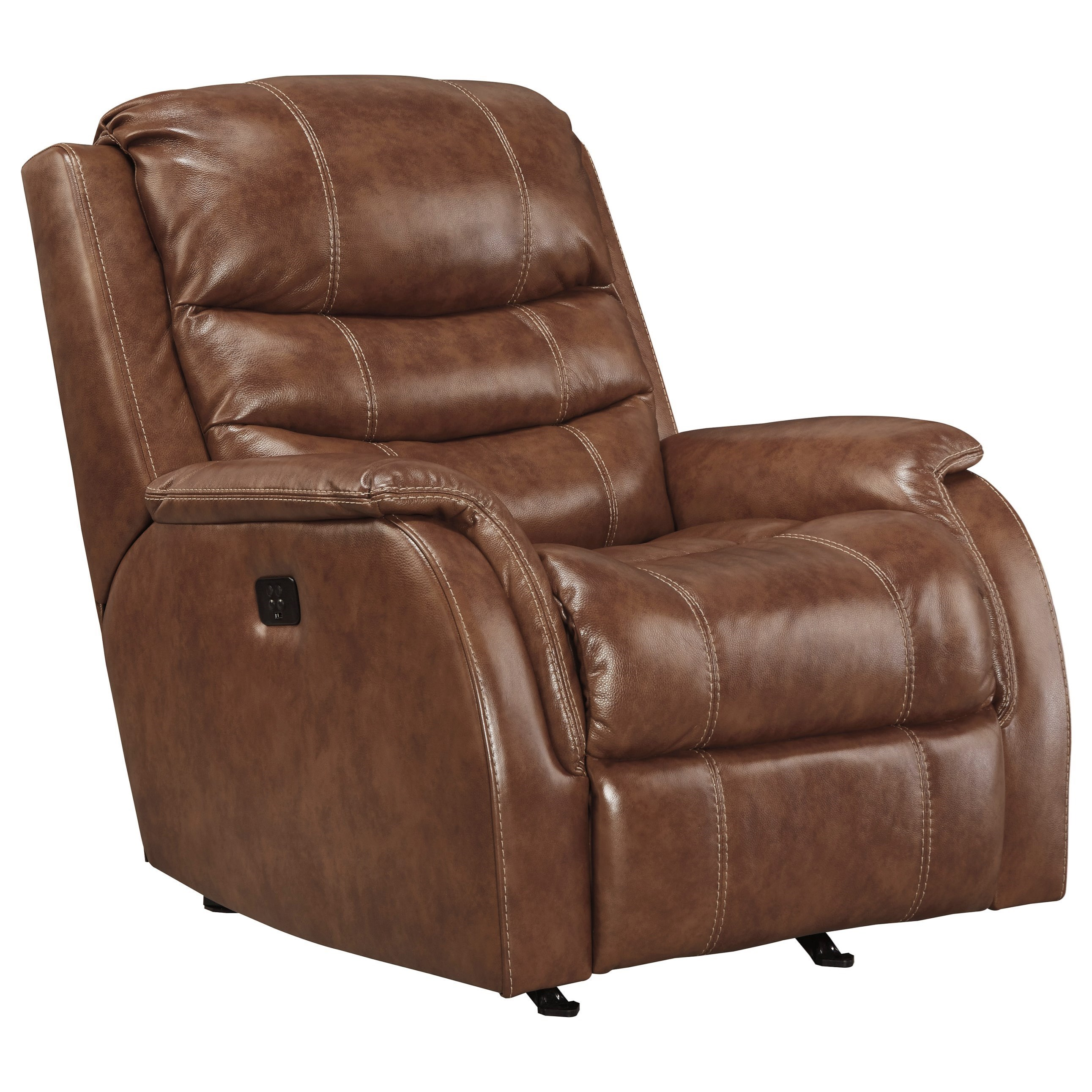 Signature Design by Ashley Metcalf Leather Match Power Rocker Recliner w/ Adjustable Headrest ...