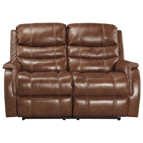 Signature Design by Ashley Metcalf Leather Match Power Reclining Loveseat w/ Adj. Headrest