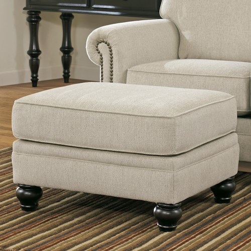 Signature Design by Ashley Milari - Linen Transitional Ottoman with Turned Feet