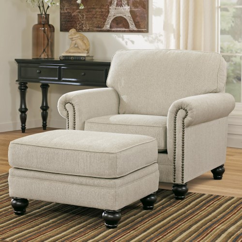 Signature Design by Ashley Milari - Linen Transitional Chair with Rolled Arms & Ottoman