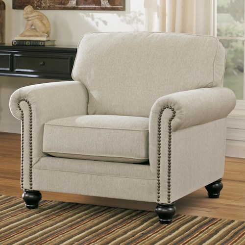 Signature Design by Ashley Milari - Linen Transitional Chair with Rolled Arms with Nail Head Trim