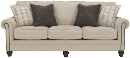 Signature Design by Ashley Milari - Linen Transitional Queen Sofa Sleeper with Rolled Arms with Nail Head Trim