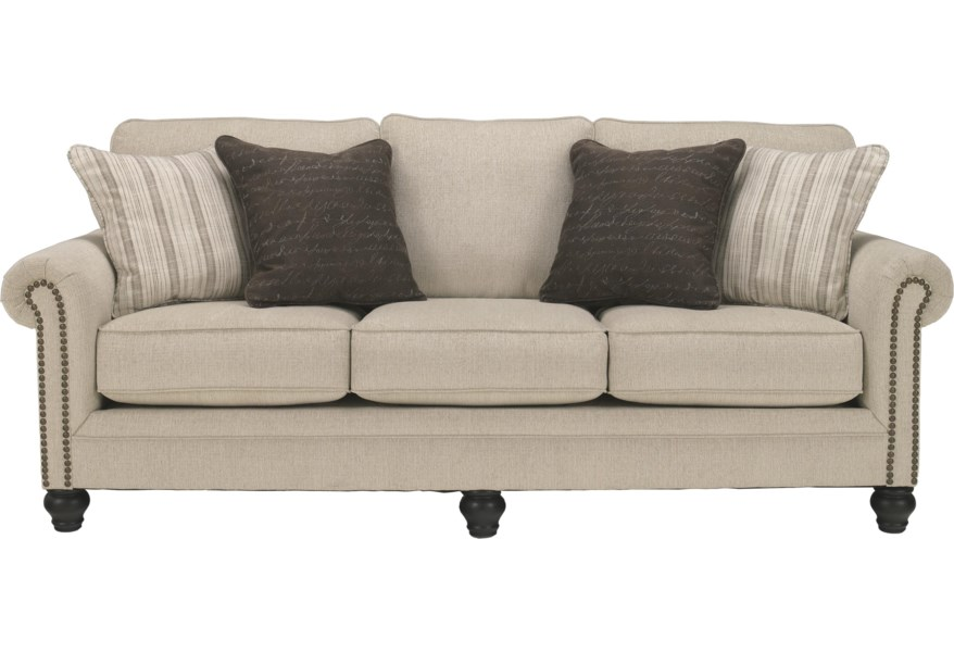 Milari - Linen Transitional Queen Sofa Sleeper with Rolled Arms with Nail  Head Trim by Signature Design by Ashley at Furniture and ApplianceMart