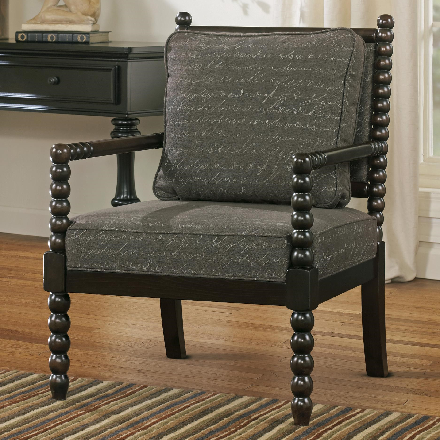 Exceptionnel Signature Design By Ashley Milari Accent Chair In Script Fabric With Spool  Turned Legs And Arms