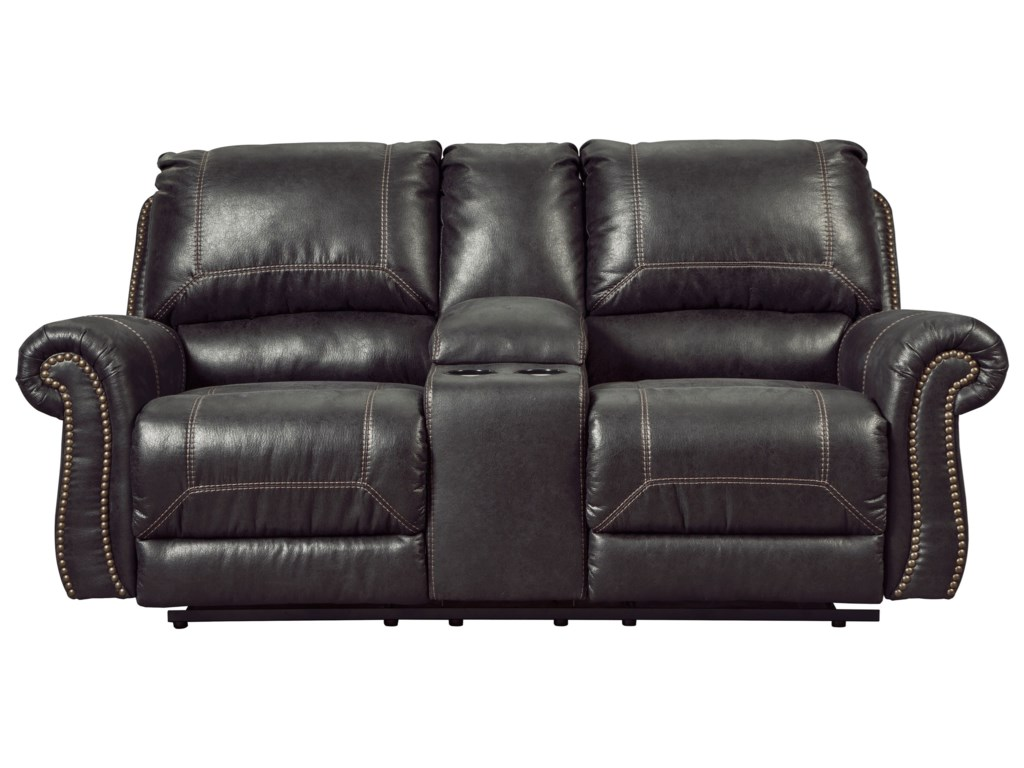 products by double w item number loveseat workhorse casual design reclining with signature ashley console