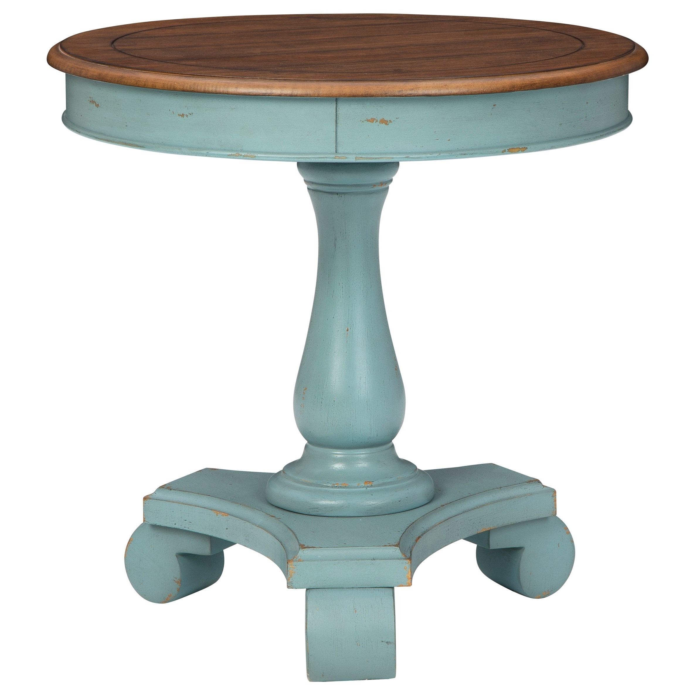 Antique Teal/Brown Round Single Pedestal Accent Table