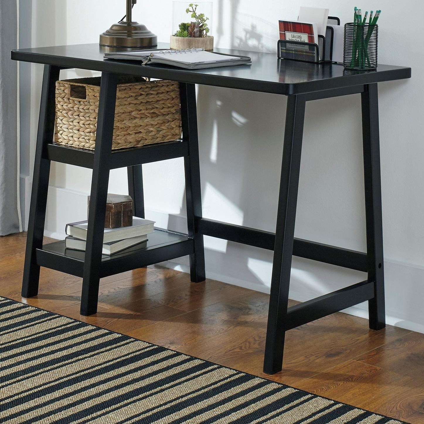 Home Office Small Desk with Woven Basket