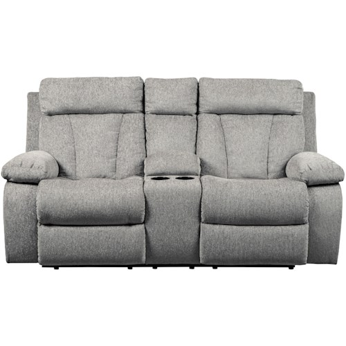 Signature Design by Ashley Mitchiner Casual Double Reclining Love Seat with Console