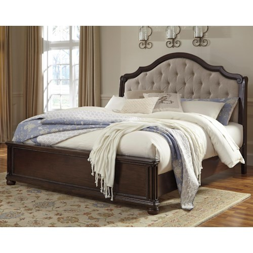 Signature Design by Ashley Moluxy California King Bed with Upholstered Sleigh Headboard