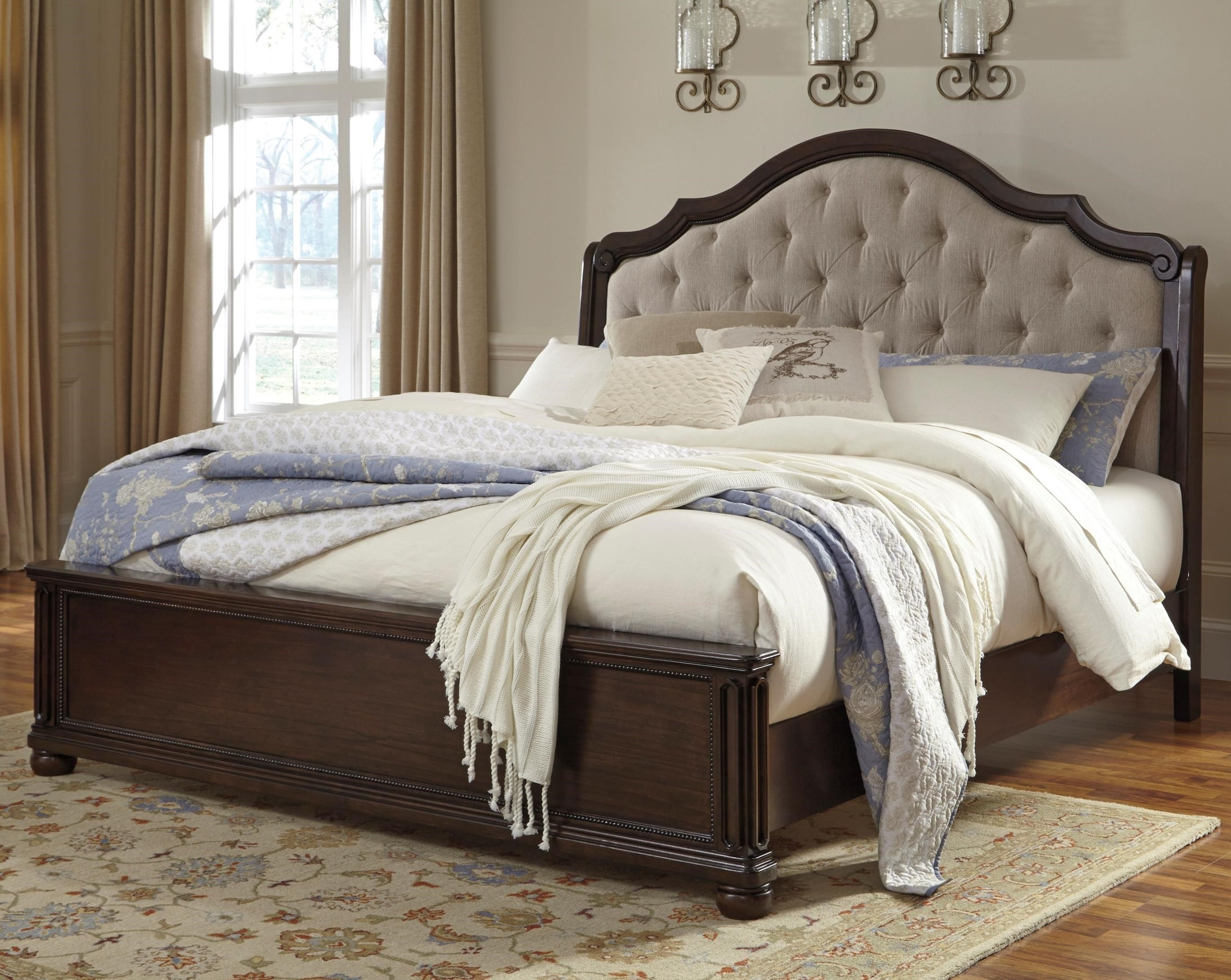 signature design by ashley moluxy queen bed with upholstered sleigh headboard - Upholstered Queen Bed