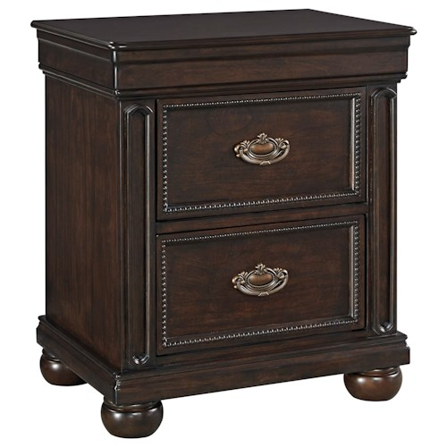 Signature Design by Ashley Moluxy Two Drawer Night Stand in Cherry Finish